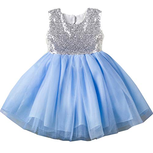 18-24 month 1 Year Old 2t Blue Toddler Dresses Trendy Spring Fancy Puffy Halter Gown Pageant Formal Ruffle Baby Dresses Church Cute Dresses for Girls Baptism Christening Birthday Party Baby Girl Dress