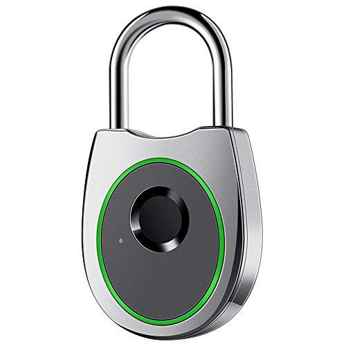IFOLAINA Fingerprint Padlock Smart Touch Lock Metal Waterproof IP65 Anti-Theft Intelligent Keyless for Gym School Locker Lock Backpack Suitcase Travel Luggage Grey