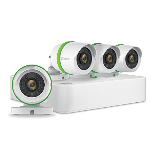 EZVIZ FULL HD 1080p Outdoor Surveillance System, 4 Weatherproof HD Security Cameras, 4 Channel 1TB...