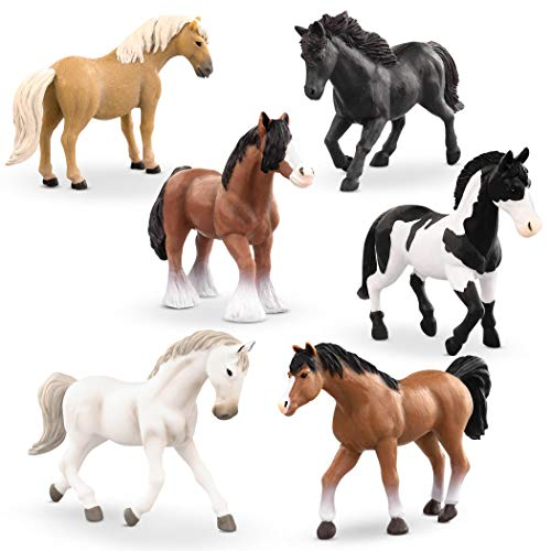 Terra by Battat – Horse Set – 6pc Playset with Detailed Miniature Toy Horses – Animal Toys for Kids 3+