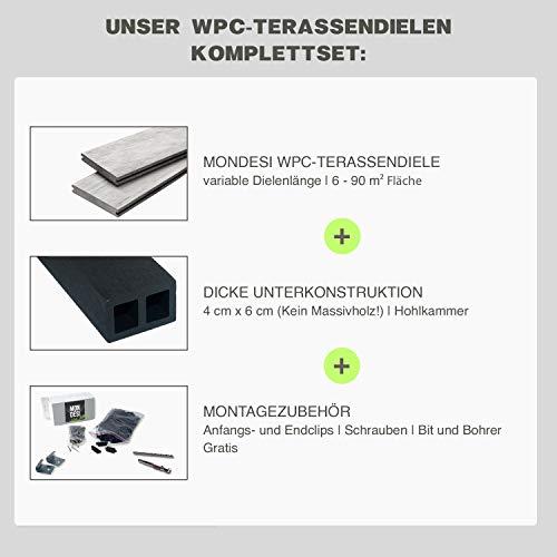 WPC Terrassendielen Massivdiele Antik - Komplett-Set Hellgrau | 9m²(3m x 3m) | Boden-Fliesen + Unterkonstruktion & Clips | Balkon Boden-Belag + rutschfest + witterungsbeständig - 7