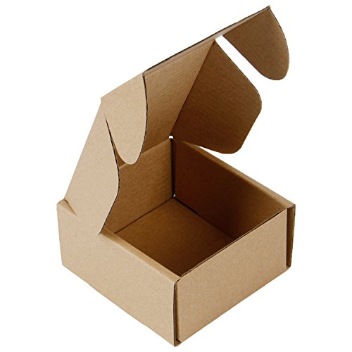 RUSPEPA Recycled Corrugated Box Mailers - Cardboard Box Perfect for Shipping Small - 4' x 4' x 2' - 50 Pack - Kraft