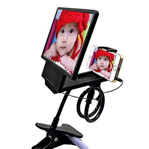 Mobile Lazy staffa di ingrandimento in vetro, pieghevole pigro staffa 7,5 pollici ad alta definizione 3D amplificatore Creative Mobile Phone staffa anti-UV anti-radiazioni anti-affaticamento,Black