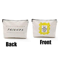 """""""friends makeup bag""""Peephole Yellow Frame Cosmetic Bag Friends Forever [25th Anniversary Ed] Friends TV Show Merchandise Cosmetic Bag for Women,Roomy Makeup Bags Travel Waterproof Toiletry Bag Accessories Organizer Sloth Gifts I'LL BE THERE FOR YOU!"""
