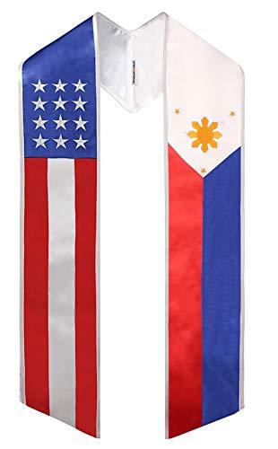 Two Flag Graduation Sash Stole (USA + International) (Philippines & USA)