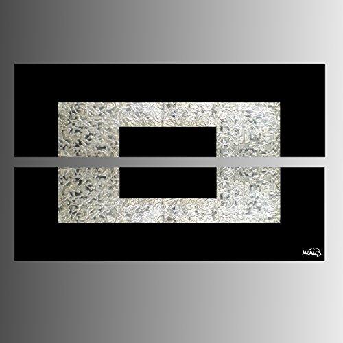 ART MMB 'Silver Luxury - 2 Quadri Moderni Astratto Colori Argento Nero Dipinto A Mano su Tela Gia' INTELAIATO