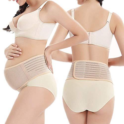 Fajas de Embarazo Premamá Transpirable Cómodo Cinturón del Vientre de Soporte Pélvico para Evitar Dolor Espalda (Beige 2)