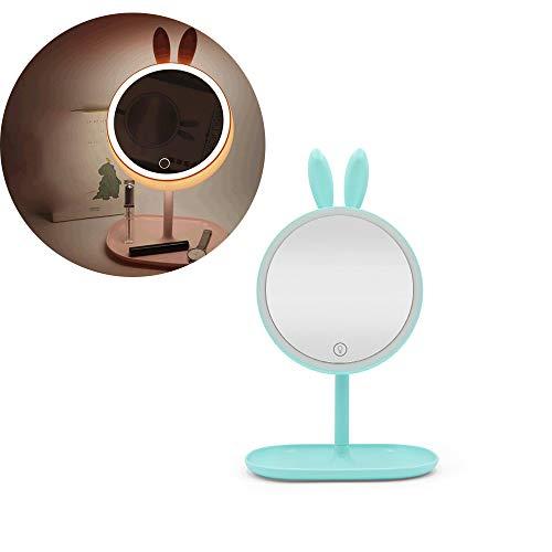 LED-Make-Up-Spiegel, USB-Lade Kaninchen Hell Vanity Make-Up-Spiegel Für Heim, Aufsatz-...