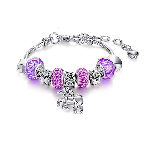 Jieddey Pulsera de Cuentas Unicornios,Pulsera de Unicornio para Niñas Diamantes de Imitación de Cristal Pulsera Chica para Niños Regalos de Cumpleaños Joyas para Niña Morado
