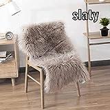 Kattyhome Sheepskin Washable Carpet Warm Hairy Seat Pad, Fluffy Rugs, Faux Fur Mats for Floor, Chairs, Sofas, Living Room, Bedroom Home Decor (40 x 60Cm) (Camel) (Slaty) (Grey)
