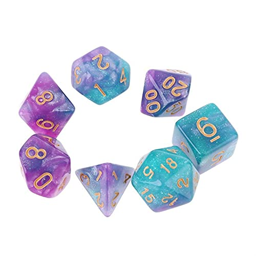 SSSSY 7pcs / Set dichromatisch D4 D6 D8 D10 D12 D20 Polyhedrale Würfelnummern wählt Desktop (Color : Burgundy)