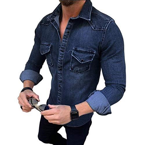 Camisa de Mezclilla de Manga Larga para Hombre Moda Lavable Cómodo Costura versátil Camisas de Corte Entallado básicas de Dos Bolsillos XL