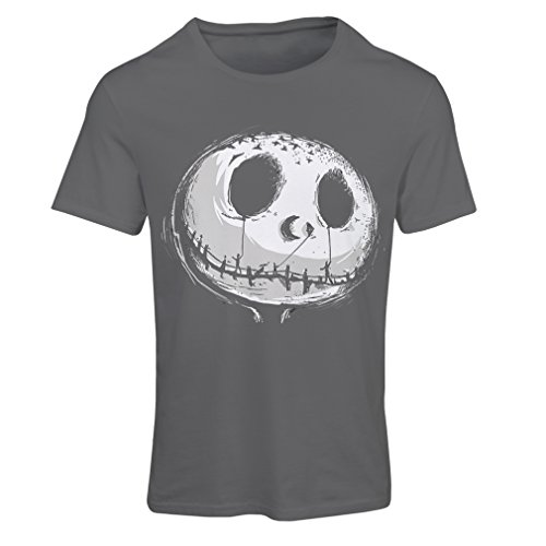 lepni.me Camiseta Mujer cráneo asustadizo Cara - Pesadilla - Ropa de Fiesta de Halloween (Large Grafito Multicolor)