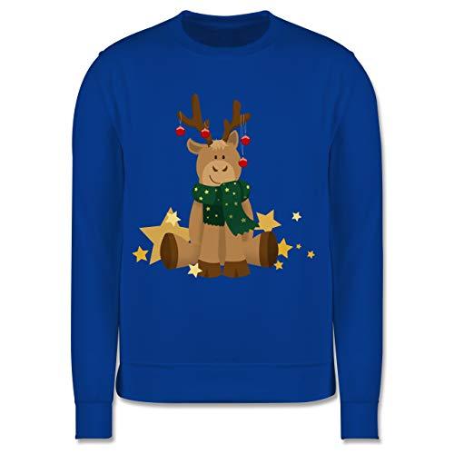 Shirtracer Weihnachten Kind - süßer Elch - 128 (7/8 Jahre) - Royalblau - Pullover Kinder Weihnachten 6 Jahre - JH030K - Kinder Pullover