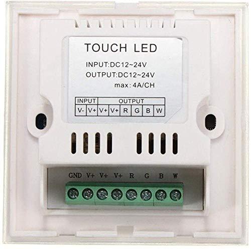 FANPING Interruptor DC12 24V DIY Iluminación LED RGBW táctil controlador de panel táctil Dimmer for la tira de luz LED de luz Accesorios de Gaza (Color : White)