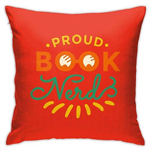 suichang Buch Nerd Square Cotton Leinen Kissenbezug mit Reißverschluss Dekorative Akzent Kissenbezug für Auto Schlafzimmer und Sofa 18x18 Zoll Kissen