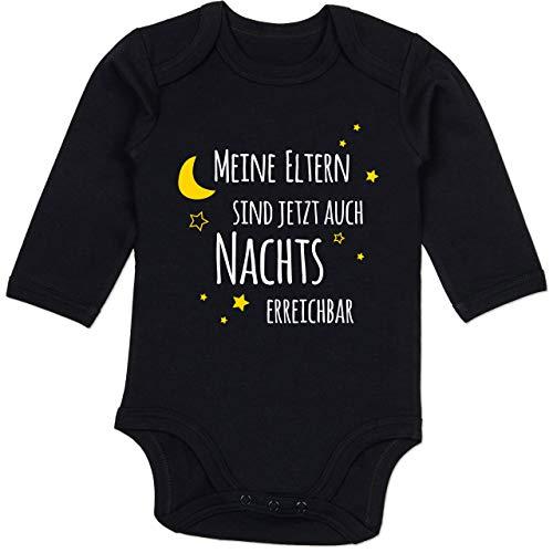 Shirtracer Sprüche Baby - Meine Eltern sind jetzt auch Nachts erreichbar - 6/12 Monate - Schwarz - Body Tante - BZ30 - Baby Body Langarm
