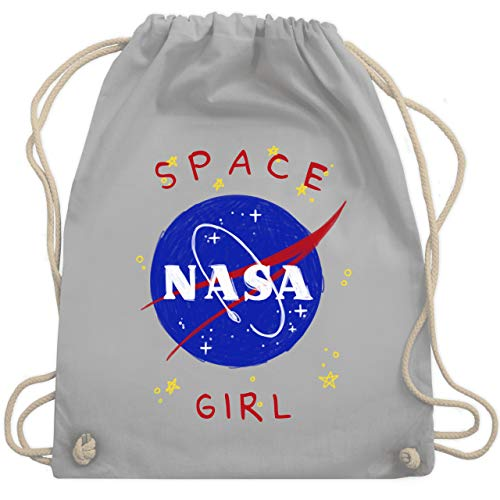 Shirtracer Up to Date Kind - Space Girl - Unisize - Hellgrau - beutel weltall - WM110 - Turnbeutel und Stoffbeutel aus Baumwolle