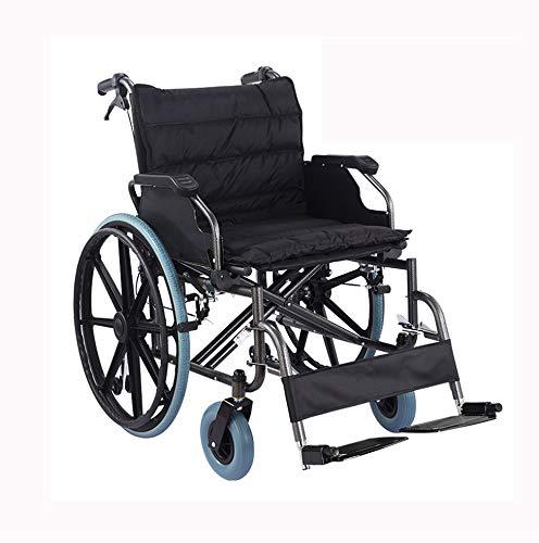 ZZR Zusammenklappbarer Rollstuhl mit doppelter Bremse, 56 cm breiter Sitz, Rahmen aus dickem Kohlenstoffstahl, Leichter Transportrollstuhl für ältere Erwachsene, 150 kg Tragkraft
