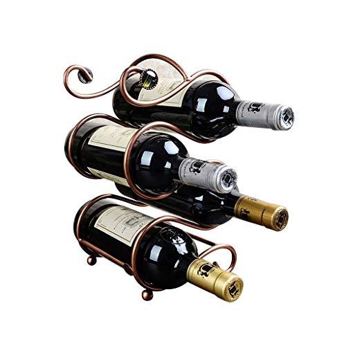 GUOCAO Botellero, Estante Doble S Vino, Creativo decoración Estante del Vino Artesanía Bronce Estantería de Vino