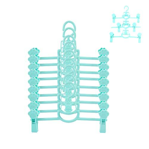 Sfesnid Perchas para Pantalones de Infantiles Bebé, Faldas Perchas con Clips Ajustables, ahorra espacio para armario Duradera Adecuada para Niños y Bebés 11-26CM Paquete 9 Unidades Azul