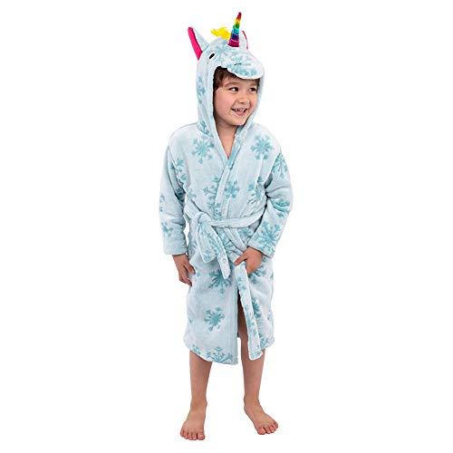 Albornoz para Niños Ropa de Dormir Bata con Capucha Franela Animal Calentador Esponjoso para Niños Niñas (Unicornio Azul, L,75cm)