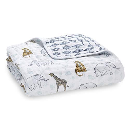 aden + anais - Couverture de rêve dream blanket prélavée en mousseline 100% coton - Imprimé Jungle - Quadruple-épaisseur 120 cm x 120 cm
