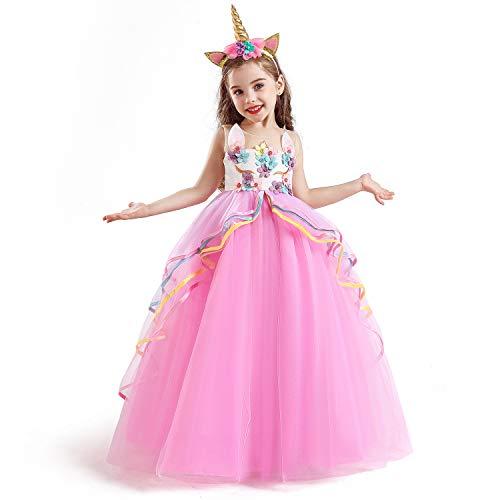 TTYAOVO Vestido de Fiesta con Volantes de Princesa sin Mangas para Niñas Tamaño(160) 10-11 Años 07 Rosa