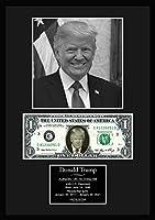 【ドナルド・トランプ/Donald Trump】アメリカ合衆国第45代大統領/POTUS/写真/サインプリント本物USA1ドル札フレーム証明書付/モノクロ/カラー (1)