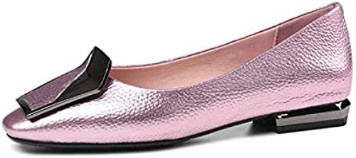 MENGLTX High Heels Sandalen Sandalen Sandalen Schuhe Frau Karree Echtes Leder Sommer Schuhe Flach Elegante Bequeme Flache Schuhe Frau  Markenverkauf