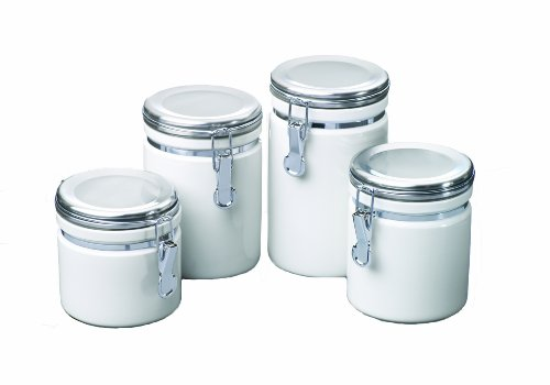 Anchor Hocking 4-Piece Ceramic Canister Set with Clamp Top Lid, White -