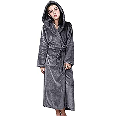 Women Long Hooded Robe Night Gown Plush Microfiber Bathrobe Spa Bathrobe Sleepwear Lingerie Sleep & Lounge