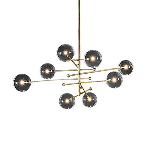 QCSMegy Lámpara de techo LED de lujo moderna de estilo nórdico de oro con bola de cristal simple para decoración del hogar, sala de estar, comedor, 120 x 120 x 115 cm