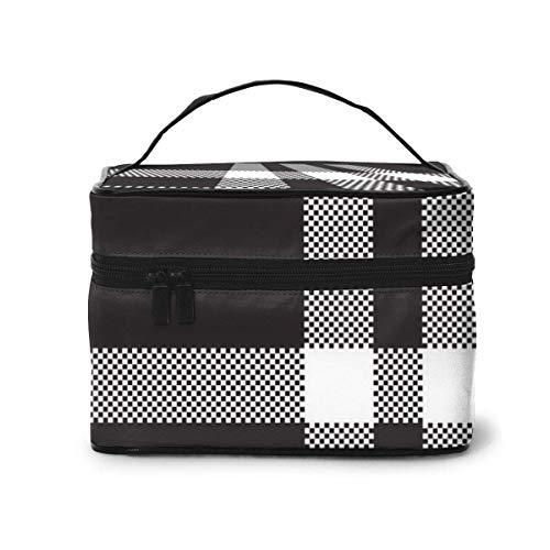 Borsa da toilette per donna Borsa da viaggio cosmetica Nero bianco a quadri Pixel Square Organizer per trucco in tessuto, astuccio da toilette, per spazzole, astuccio
