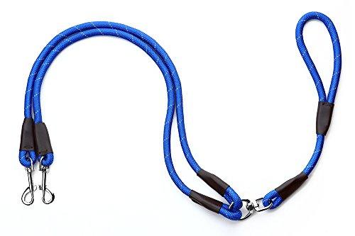 Yommy Hundeleine für Zwei Hunde, 1,2 x 120 cm, reflektierendes Nylon, 360 ° Drehbar, Trainingsgurt, Doppelhunde.