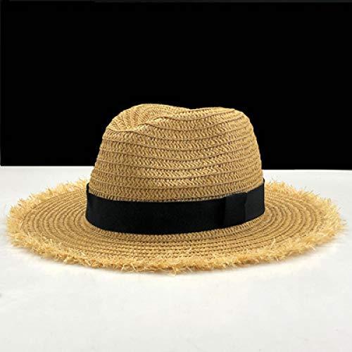 kyprx Strohhut Strohhüte Fringe Frauen Plain Large Beach Sun Caps Big Stroh m Khaki Stroh