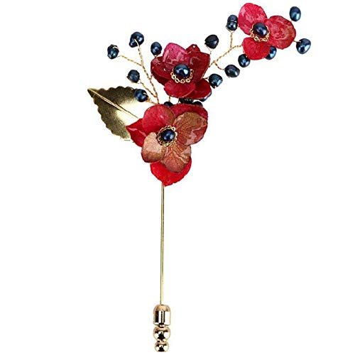 kliy Broches Y Alfileres para Mujerjoyas Hechas A ManoBroche De Perlas Naturales Flores Secas Rojas Broche Broche De Boda