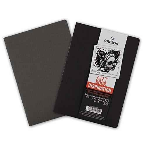 Canson Carnet de dessin Cahier A5 avec Couverture Noir/Gris Ardoise 14,8 x 21 cm 30 feuilles
