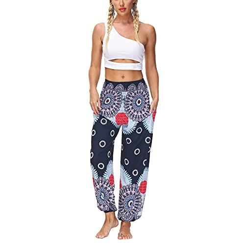 Pantalones de yoga de cintura alta para mujer, ajuste holgado, estilo bohemio, pantalones de yoga, azul marino, Talla única