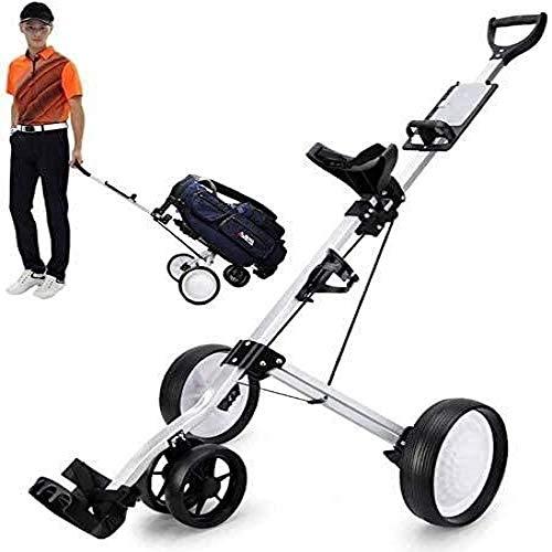 WLOWS Golf Trolley 4-Rad Golf Push Cart Mit Getränkehalter Und Scorecard Rack Zusammenklappbarer Tragbarer Pull Caddy Cart Club Bag Trolley Einfaches Tragen Und Montage
