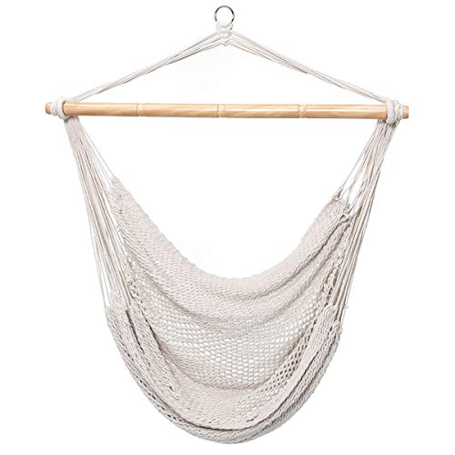 Finether Mesh Hammock Chair Swing, Netted Swing Chair Swing Seat Rope Hanging Chair for Any Indoor or Outdoor Spaces, 300 lbs Weight Capacity,White