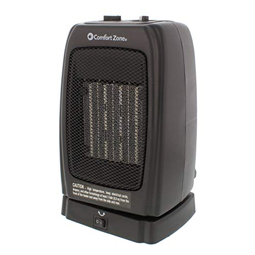 Comfort Zone CZ448 Oscillating Portable Ceramic Space Heater with 2 Heat Settings and Fan-Only Function