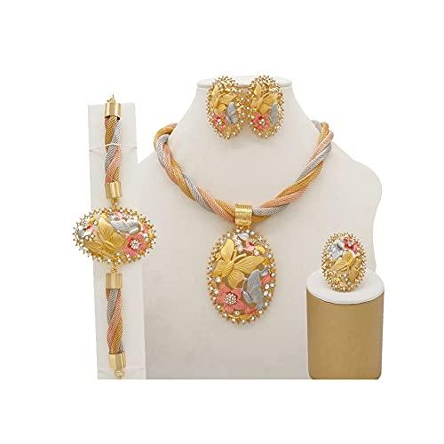 XiaoG Conjuntos de joyería Nupcial de la Boda de Las Mujeres africanas, Conjunto de Joyas Colgantes de la Pulsera del Collar (Color : CJ001)
