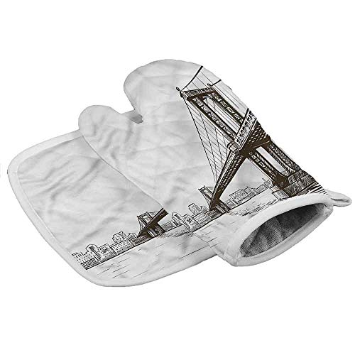 painting-home Kitchen Oven Gloves New York, Urban Cityscape of NYC Heat Resistant Kitchen Gloves for The Hand for Small to Medium Size Hand (2-Piece Sets)