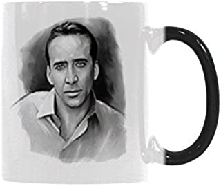 WECE Nicolas Cage Funny Coffee Mug Heat Reveal Changing Color Tea Cup 11 ounce