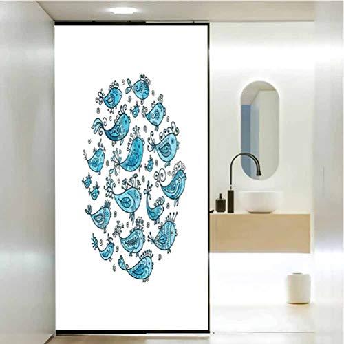 Langlebige, wasserdichte, ölbeständige Glasfolie, Fischschule für Fischskizzieren in rundem Rahmen mit Roma, Fenster-Tönungsfolie, Hitzeregulierung, B 45 x H 80 cm