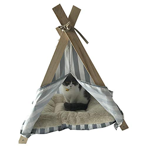 ACEMIC Household Collapsible Storage Pet Tent, Wooden Pole Triangle Cat Kennel Cushion PV Velvet Soft And Comfortable Suitable for Small Cats And Dogs