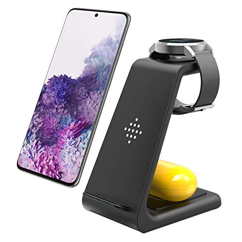 Wireless Charger Fast Wireless Charging Station, 3 in 1 Qi-Certified Charging Stand Compatible with Samsung Galaxy S20 S10/S9/Note10, Galaxy Buds+, Galaxy Watch Active2/1/ Gear S2/S3, iPhone 12/11/XS