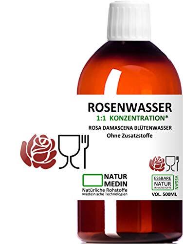 ROSENWASSER 1000-ml, LEBENSMITTEL-QUALITÄT, 100% naturrein, 1:1 Konzentration, Rosa damascena Blüttenwasser, essbar, ohne Zusatzstoffe, PET Braunflasche, 1000-ml (1-l), nachhaltig
