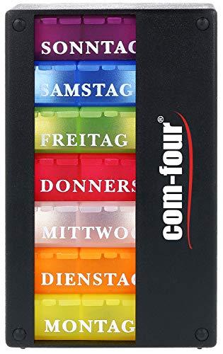 com-four® Medikamentendosierer 7 Tage - Medikamenten-Box (Morgens, Mittags, Abends) - Pillendose - Tablettendose - Wochendosierer (01 Stück - schwarz ohne Zubehör)
